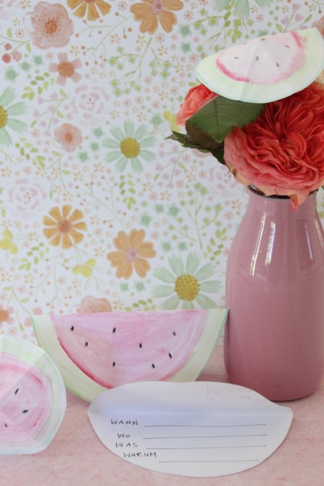 Melonenschirmchen Wasserfarben Sommerparty Einladungskarte